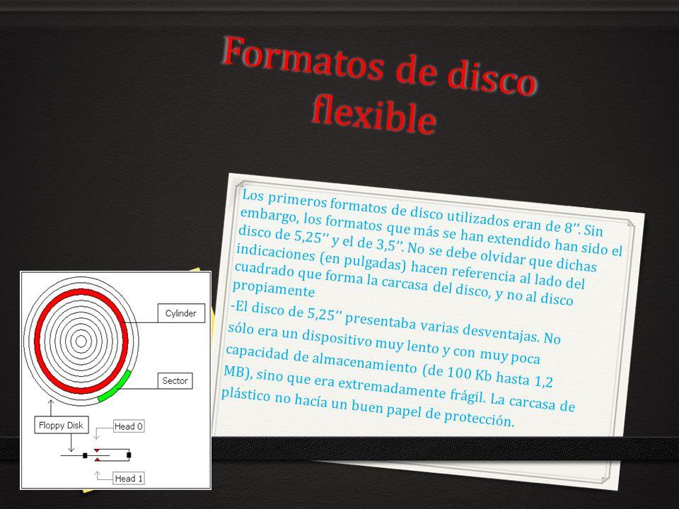 Formatos de disco flexible Los primeros formatos de disco utilizados eran de 8. Sin embargo, los formatos que más se han extendido han sido el disco d