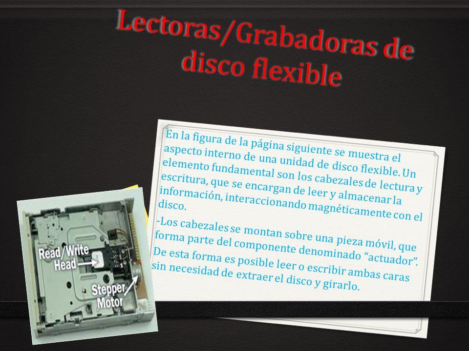 Lectoras/Grabadoras de disco flexible En la figura de la página siguiente se muestra el aspecto interno de una unidad de disco flexible. Un elemento f