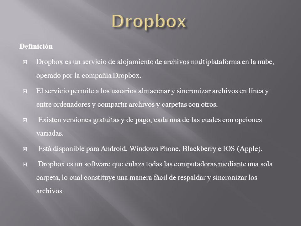 Definición Dropbox es un servicio de alojamiento de archivos multiplataforma en la nube, operado por la compañía Dropbox. El servicio permite a los us