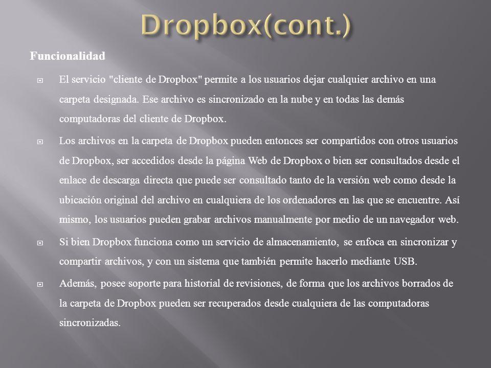 Funcionalidad El servicio cliente de Dropbox permite a los usuarios dejar cualquier archivo en una carpeta designada.