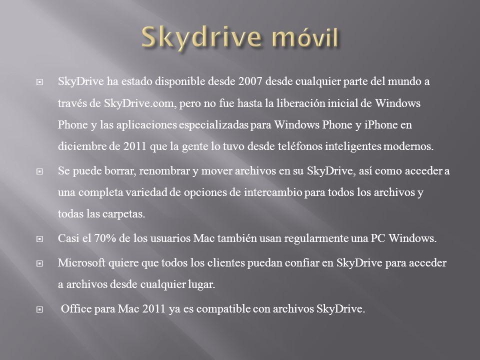 SkyDrive ha estado disponible desde 2007 desde cualquier parte del mundo a través de SkyDrive.com, pero no fue hasta la liberación inicial de Windows