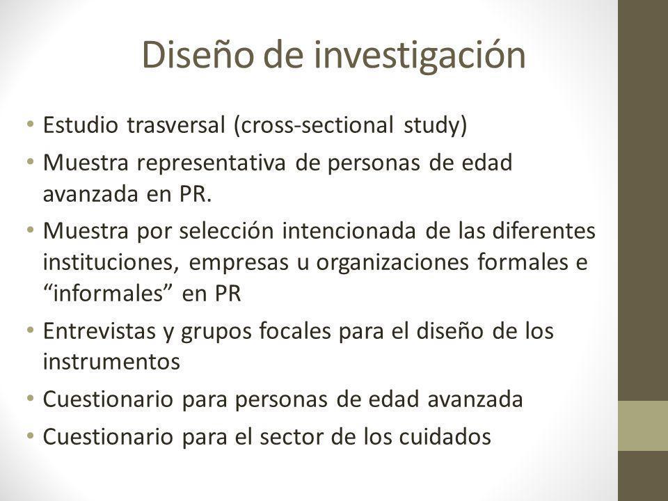 Diseño de investigación Estudio trasversal (cross-sectional study) Muestra representativa de personas de edad avanzada en PR. Muestra por selección in