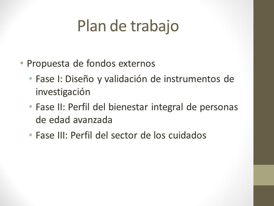 Plan de trabajo Propuesta de fondos externos Fase I: Diseño y validación de instrumentos de investigación Fase II: Perfil del bienestar integral de pe