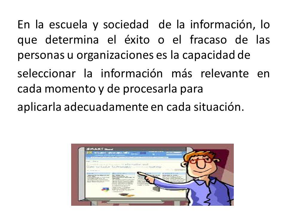 En la escuela y sociedad de la información, lo que determina el éxito o el fracaso de las personas u organizaciones es la capacidad de seleccionar la