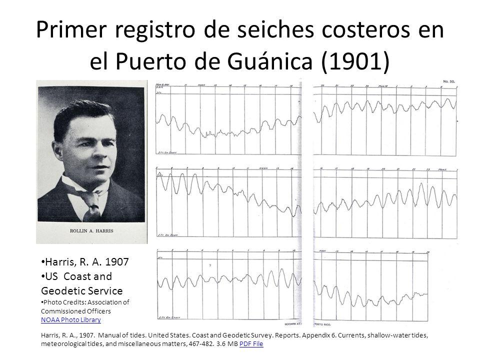 Hallazgos de Harris (1907) Remarkably regular seiches occur in Guanica Harbor.