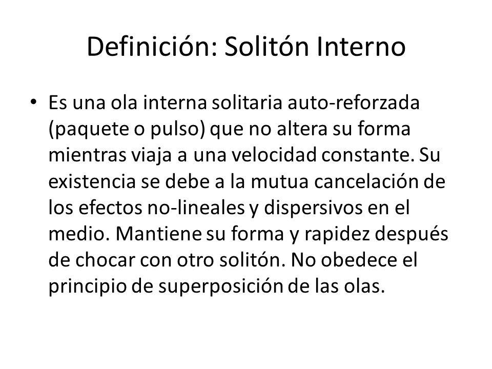 Definición: Solitón Interno Es una ola interna solitaria auto-reforzada (paquete o pulso) que no altera su forma mientras viaja a una velocidad constante.