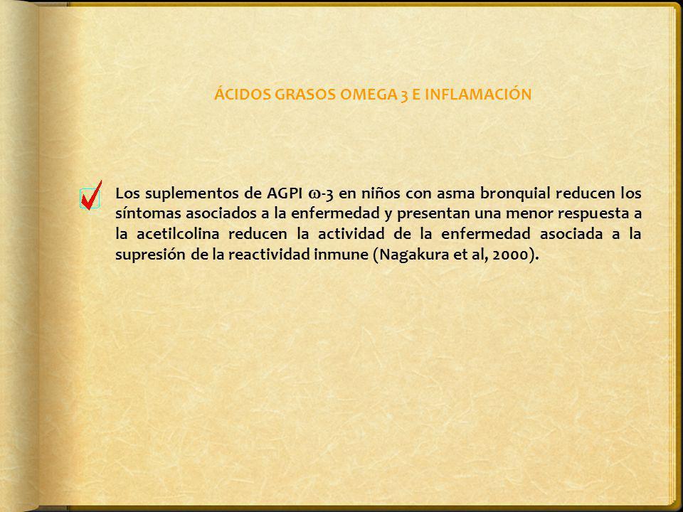 ÁCIDOS GRASOS OMEGA 3 E INFLAMACIÓN Los suplementos de AGPI -3 en niños con asma bronquial reducen los síntomas asociados a la enfermedad y presentan