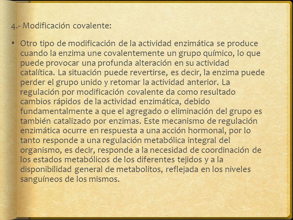 4.- Modificación covalente: Otro tipo de modificación de la actividad enzimática se produce cuando la enzima une covalentemente un grupo químico, lo q