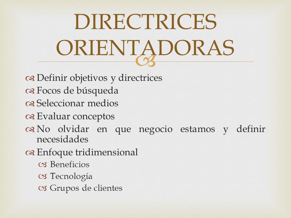 CREATIVIDAD (interés) INNOVACIÓNExcelenteBuenaAceptableDeficiente Excelente Buena Aceptable Deficiente EL TAMIZADO DE IDEAS