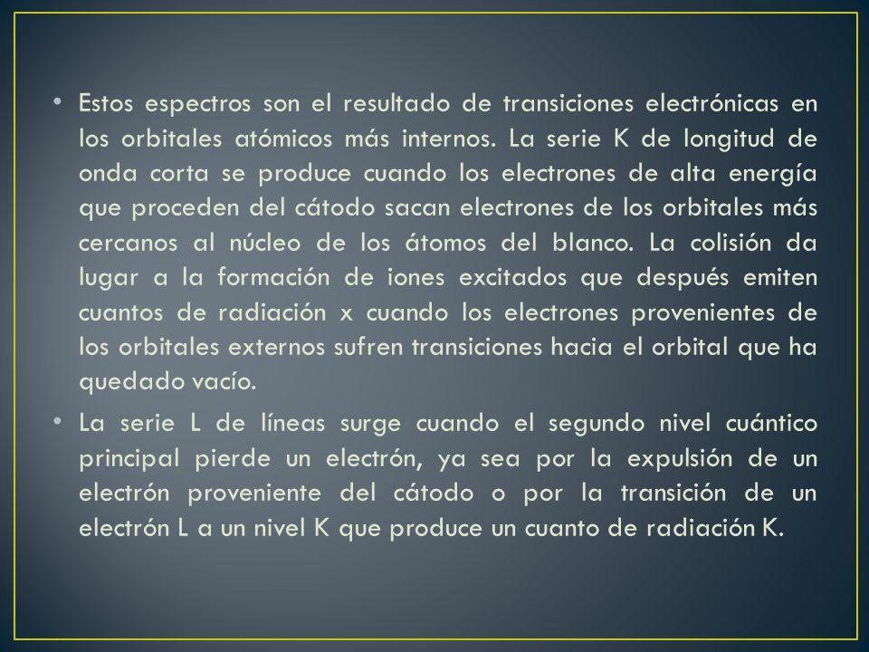 Estos espectros son el resultado de transiciones electrónicas en los orbitales atómicos más internos. La serie K de longitud de onda corta se produce
