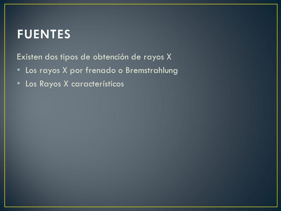 Existen dos tipos de obtención de rayos X Los rayos X por frenado o Bremstrahlung Los Rayos X característicos