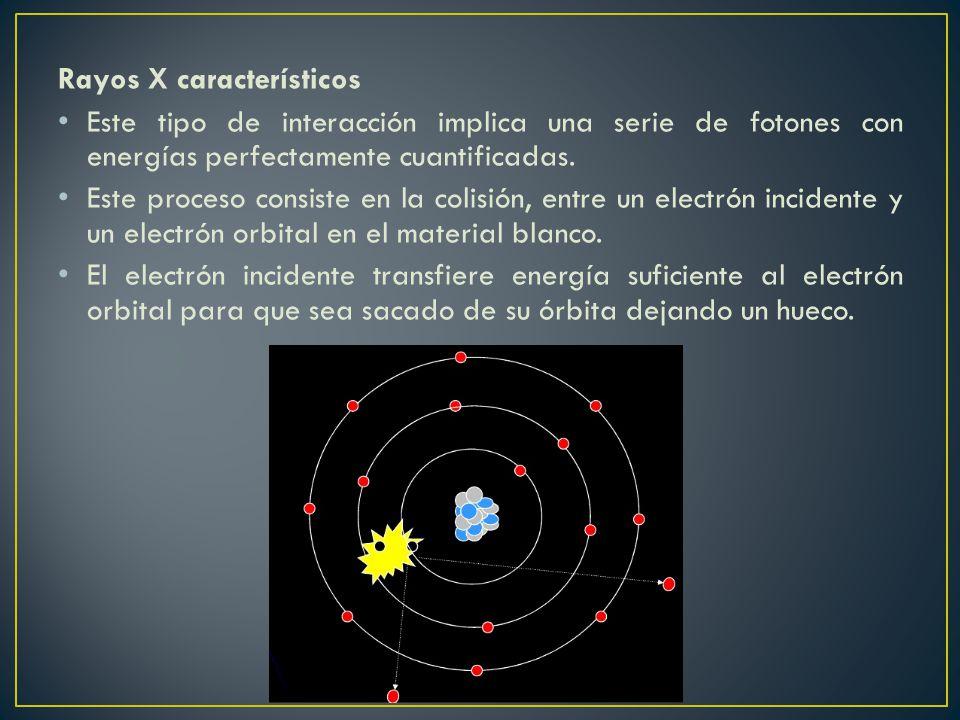 Rayos X característicos Este tipo de interacción implica una serie de fotones con energías perfectamente cuantificadas. Este proceso consiste en la co