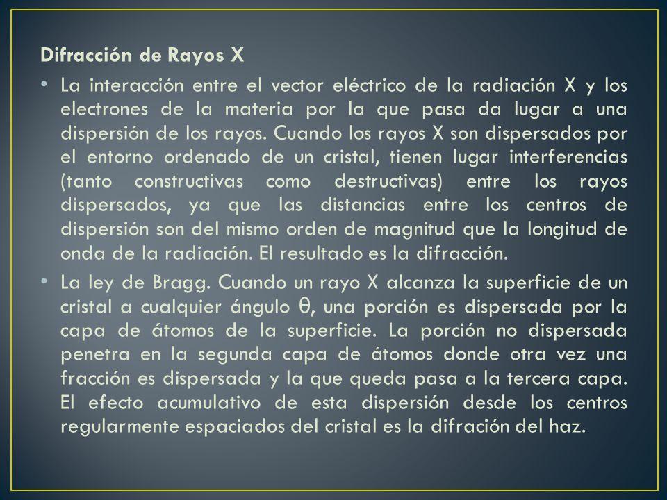 Difracción de Rayos X La interacción entre el vector eléctrico de la radiación X y los electrones de la materia por la que pasa da lugar a una dispers