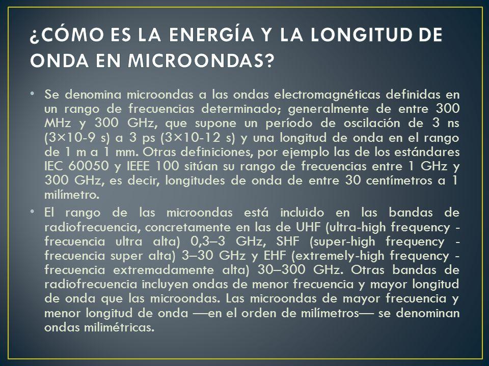 Se denomina microondas a las ondas electromagnéticas definidas en un rango de frecuencias determinado; generalmente de entre 300 MHz y 300 GHz, que su