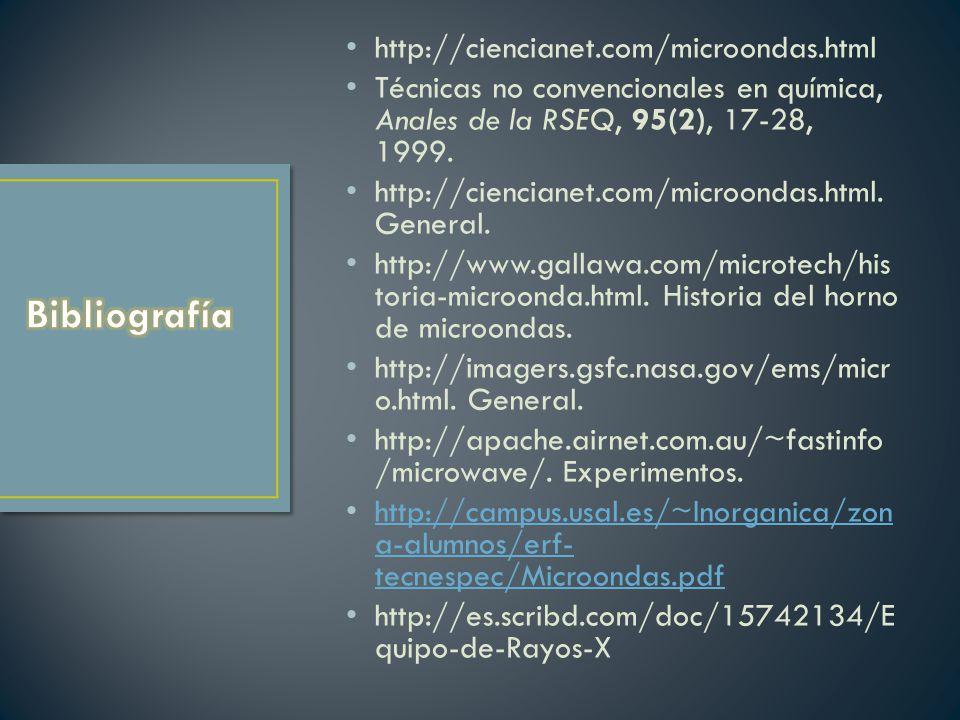 http://ciencianet.com/microondas.html Técnicas no convencionales en química, Anales de la RSEQ, 95(2), 17-28, 1999. http://ciencianet.com/microondas.h