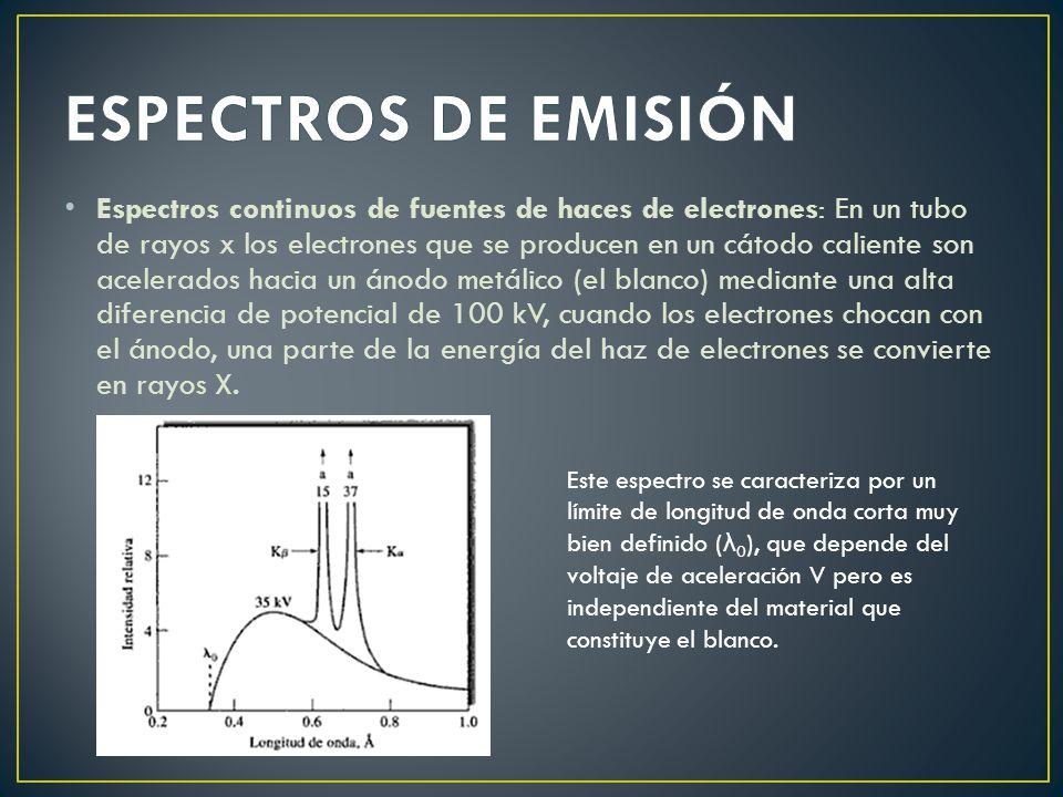 Espectros continuos de fuentes de haces de electrones: En un tubo de rayos x los electrones que se producen en un cátodo caliente son acelerados hacia