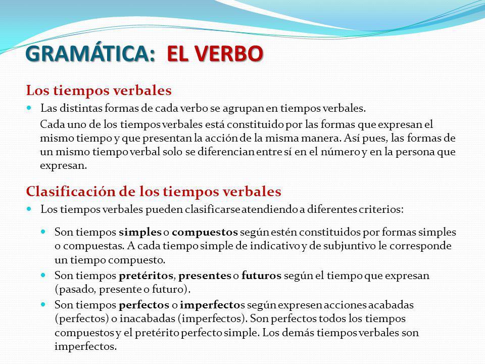 GRAMÁTICA: EL VERBO Los tiempos verbales Las distintas formas de cada verbo se agrupan en tiempos verbales. Cada uno de los tiempos verbales está cons