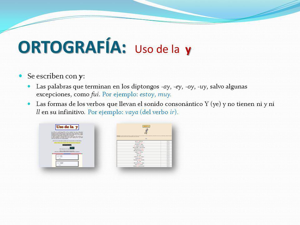 ORTOGRAFÍA: y ORTOGRAFÍA: Uso de la y Se escriben con y: Las palabras que terminan en los diptongos -ay, -ey, -oy, -uy, salvo algunas excepciones, com