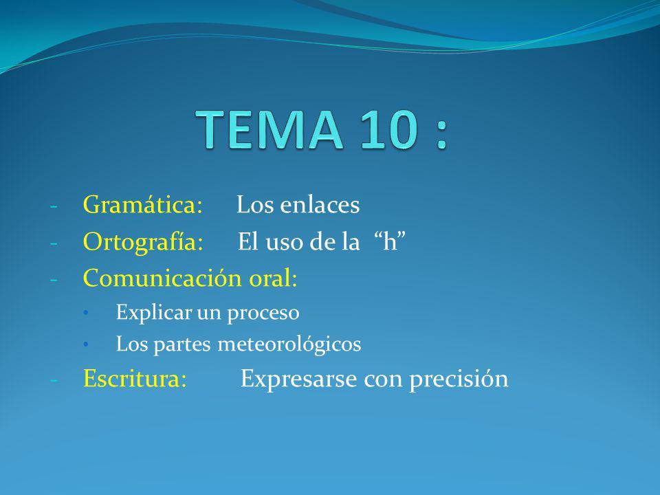 - Gramática: Los enlaces - Ortografía: El uso de la h - Comunicación oral: Explicar un proceso Los partes meteorológicos - Escritura: Expresarse con p