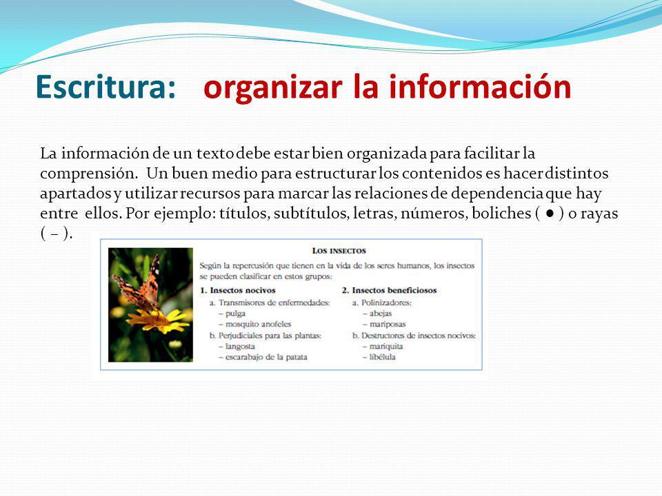 La información de un texto debe estar bien organizada para facilitar la comprensión. Un buen medio para estructurar los contenidos es hacer distintos