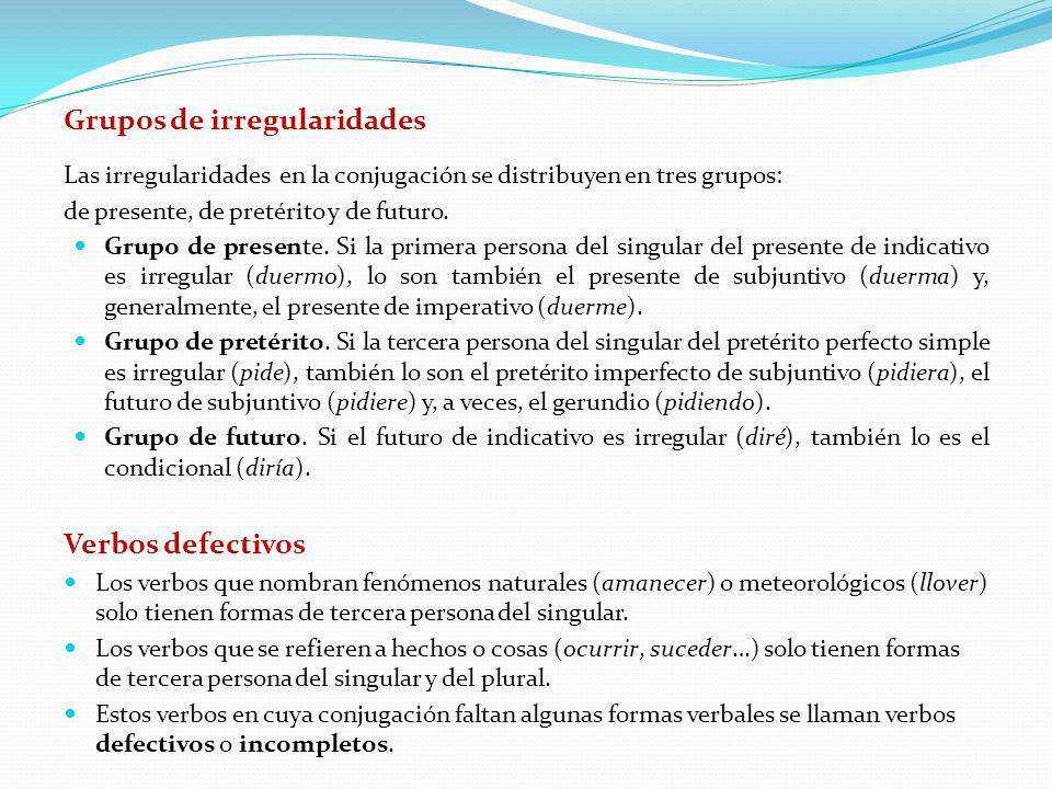 Grupos de irregularidades Las irregularidades en la conjugación se distribuyen en tres grupos: de presente, de pretérito y de futuro. Grupo de present