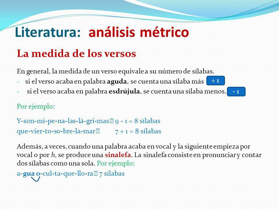 La medida de los versos En general, la medida de un verso equivale a su número de sílabas. - si el verso acaba en palabra aguda, se cuenta una sílaba
