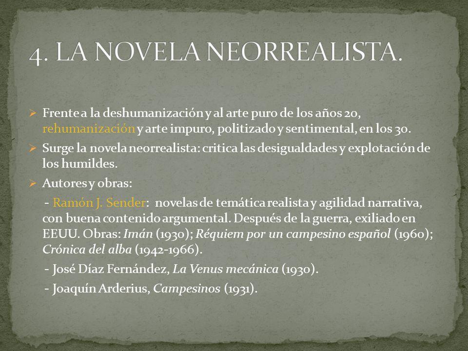 Frente a la deshumanización y al arte puro de los años 20, rehumanización y arte impuro, politizado y sentimental, en los 30. Surge la novela neorreal