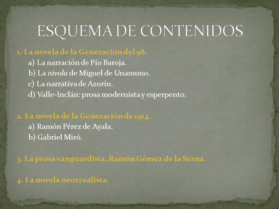1. La novela de la Generación del 98. a) La narración de Pío Baroja. b) La nivola de Miguel de Unamuno. c) La narrativa de Azorín. d) Valle-Inclán: pr