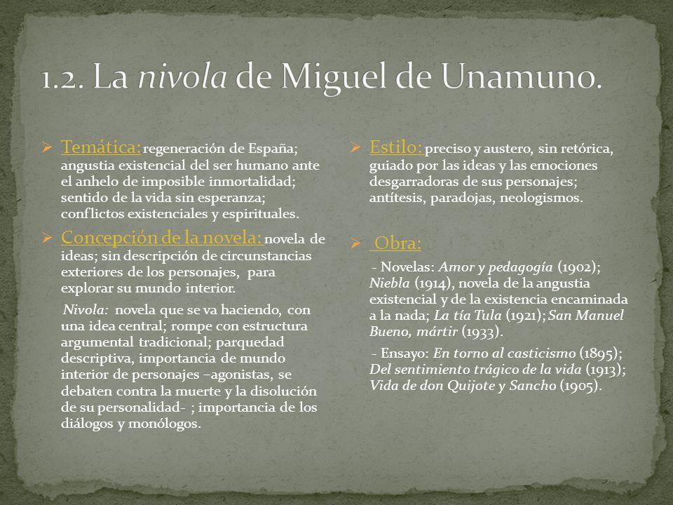 Temática: regeneración de España; angustia existencial del ser humano ante el anhelo de imposible inmortalidad; sentido de la vida sin esperanza; conf