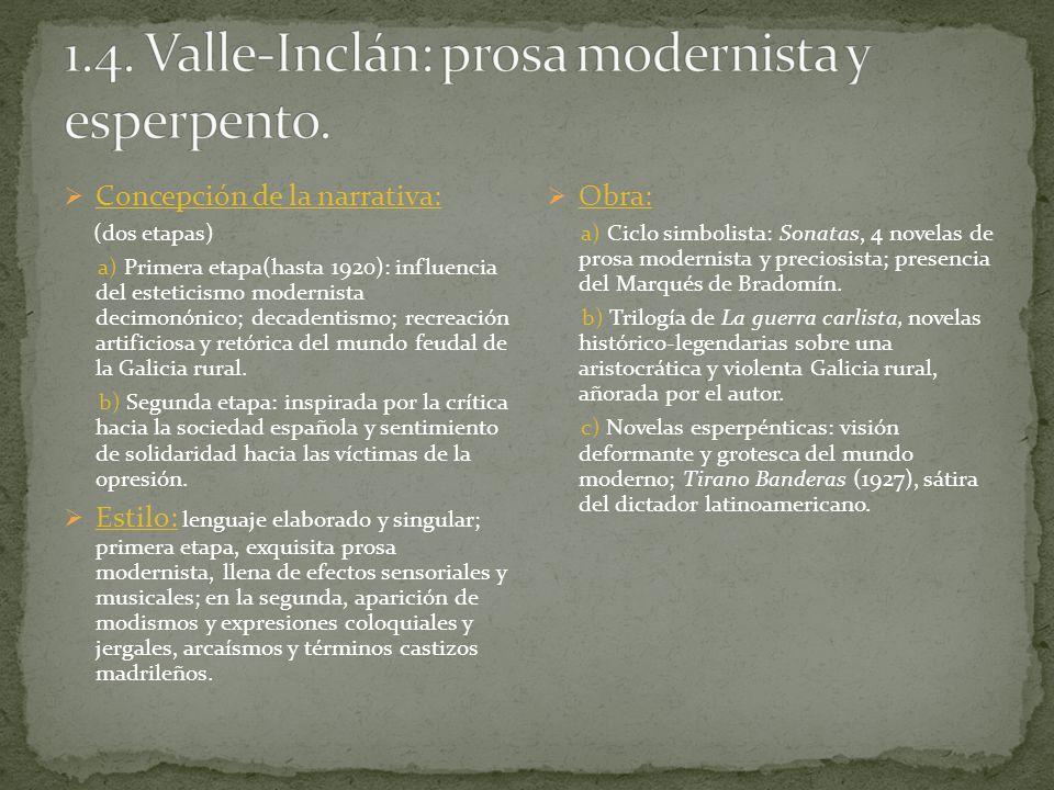 Concepción de la narrativa: (dos etapas) a) Primera etapa(hasta 1920): influencia del esteticismo modernista decimonónico; decadentismo; recreación ar