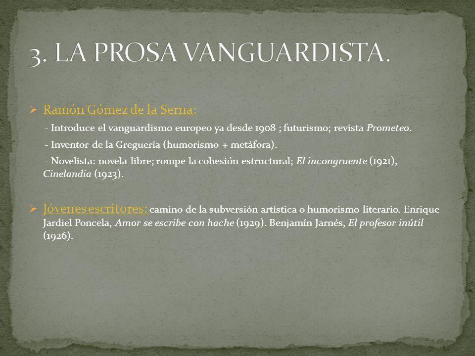 Ramón Gómez de la Serna: - Introduce el vanguardismo europeo ya desde 1908 ; futurismo; revista Prometeo. - Inventor de la Greguería (humorismo + metá