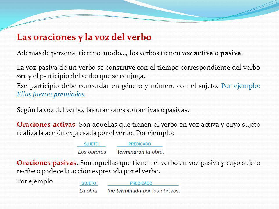 Las oraciones y la voz del verbo Además de persona, tiempo, modo…, los verbos tienen voz activa o pasiva. La voz pasiva de un verbo se construye con e