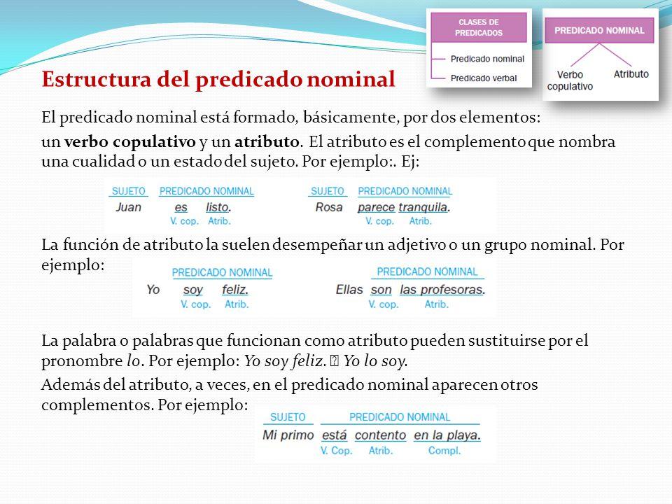 Estructura del predicado nominal El predicado nominal está formado, básicamente, por dos elementos: un verbo copulativo y un atributo.