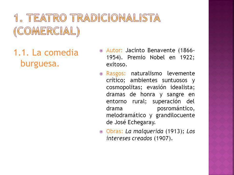 1.1.La comedia burguesa. Autor: Jacinto Benavente (1866- 1954).