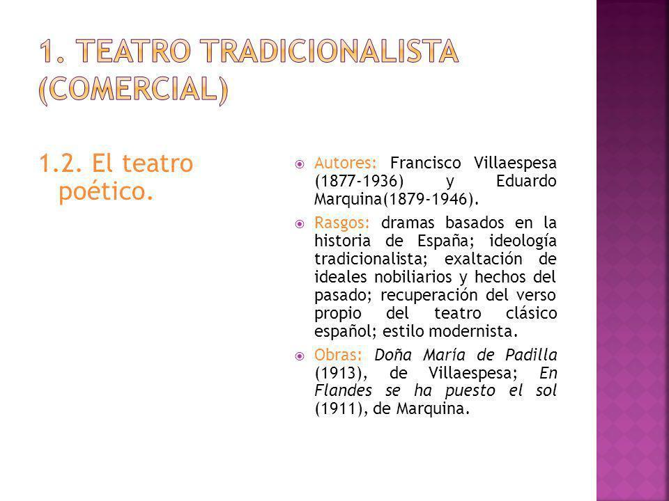 1.2.El teatro poético. Autores: Francisco Villaespesa (1877-1936) y Eduardo Marquina(1879-1946).