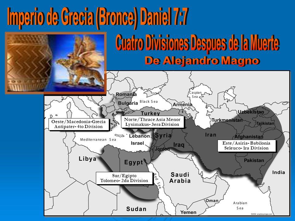 Oeste/Macedonia-Grecia Antipater- 4to Division Oeste/Macedonia-Grecia Antipater- 4to Division Norte/Thrace Asia Menor Lysimakus- 3era Division Norte/Thrace Asia Menor Lysimakus- 3era Division Este/Asiria- Babilonia Seleuco- 1ra Division Este/Asiria- Babilonia Seleuco- 1ra Division Sur/Egipto Tolomeo- 2da Division Sur/Egipto Tolomeo- 2da Division