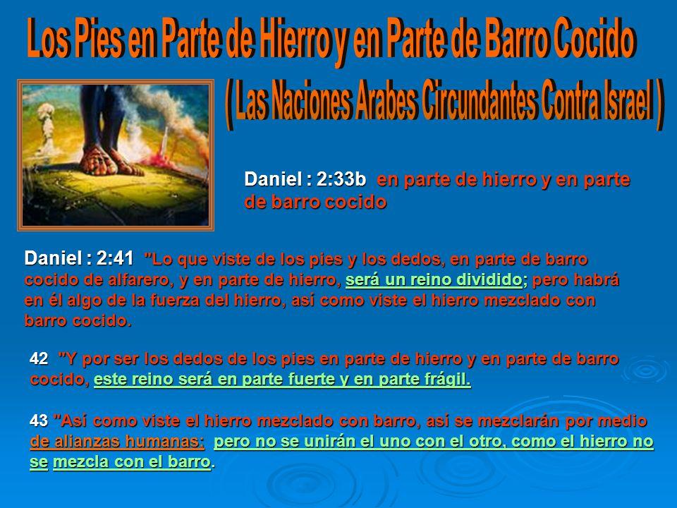 Daniel : 2:33b en parte de hierro y en parte de barro cocido 42 Y por ser los dedos de los pies en parte de hierro y en parte de barro cocido, este reino será en parte fuerte y en parte frágil.