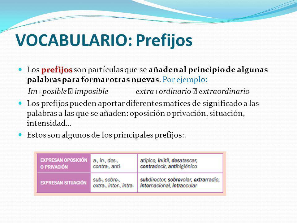 VOCABULARIO: Prefijos prefijos Los prefijos son partículas que se añaden al principio de algunas palabras para formar otras nuevas. Por ejemplo: Im+po