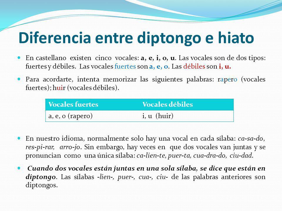 Diferencia entre diptongo e hiato En castellano existen cinco vocales: a, e, i, o, u. Las vocales son de dos tipos: fuertes y débiles. Las vocales fue
