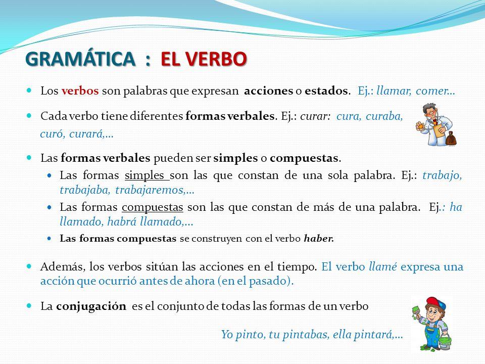 GRAMÁTICA : EL VERBO Los verbos son palabras que expresan acciones o estados.