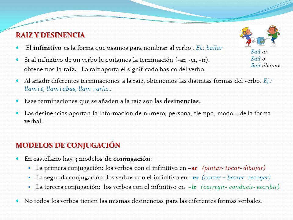 RAIZ Y DESINENCIA El infinitivo es la forma que usamos para nombrar al verbo.