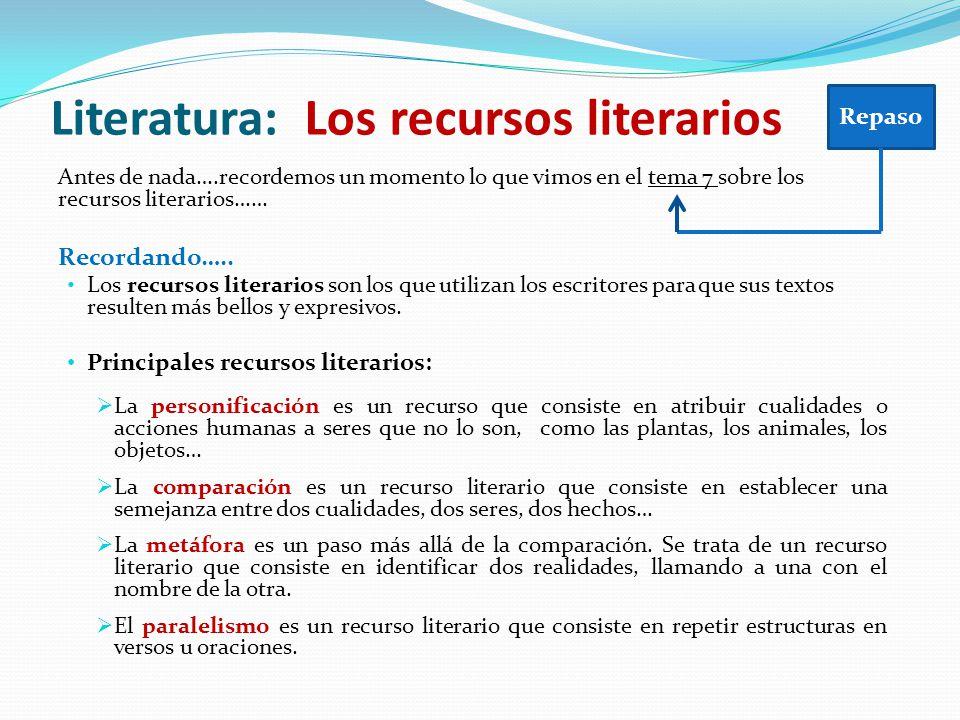 Antes de nada….recordemos un momento lo que vimos en el tema 7 sobre los recursos literarios…… Recordando….. Los recursos literarios son los que utili