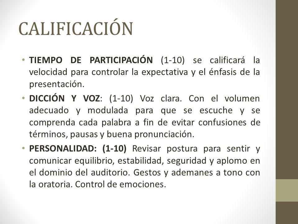 CALIFICACIÓN TIEMPO DE PARTICIPACIÓN (1-10) se calificará la velocidad para controlar la expectativa y el énfasis de la presentación. DICCIÓN Y VOZ: (