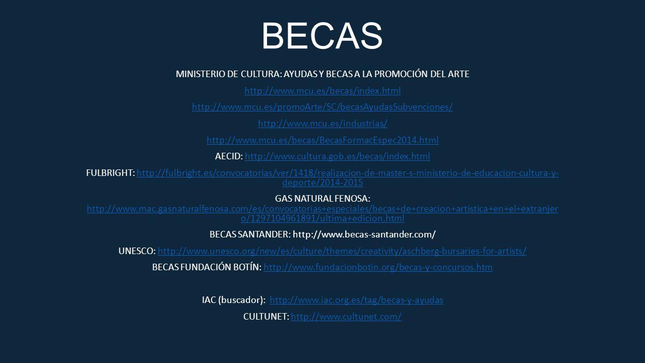 BECAS MINISTERIO DE CULTURA: AYUDAS Y BECAS A LA PROMOCIÓN DEL ARTE http://www.mcu.es/becas/index.html http://www.mcu.es/promoArte/SC/becasAyudasSubve