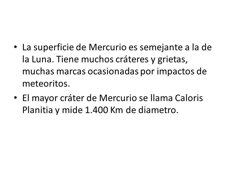 La superficie de Mercurio es semejante a la de la Luna. Tiene muchos cráteres y grietas, muchas marcas ocasionadas por impactos de meteoritos. El mayo