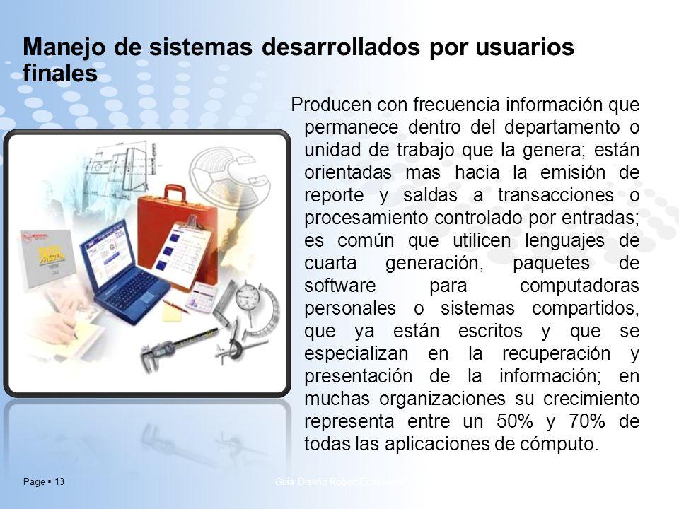 Page 13 Manejo de sistemas desarrollados por usuarios finales Producen con frecuencia información que permanece dentro del departamento o unidad de tr