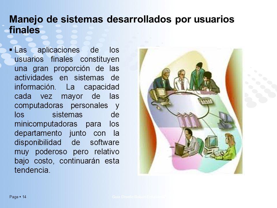 Page 14 Las aplicaciones de los usuarios finales constituyen una gran proporción de las actividades en sistemas de información. La capacidad cada vez
