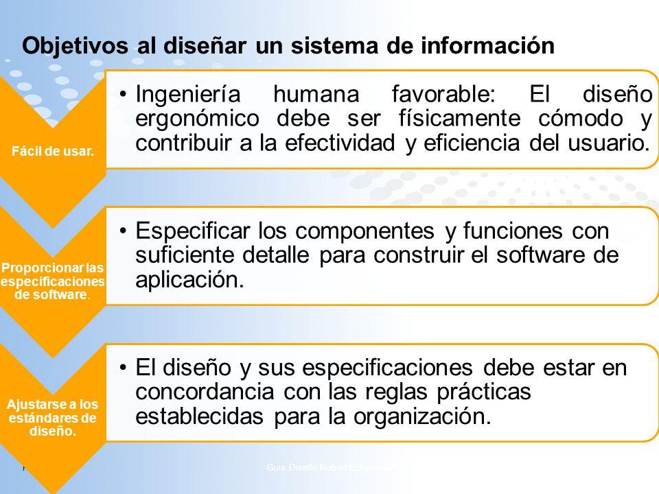 Page 8 Objetivos al diseñar un sistema de información Fácil de usar. Ingeni ería huma na favora ble: El diseñ o ergon ómico debe ser física mente cómo