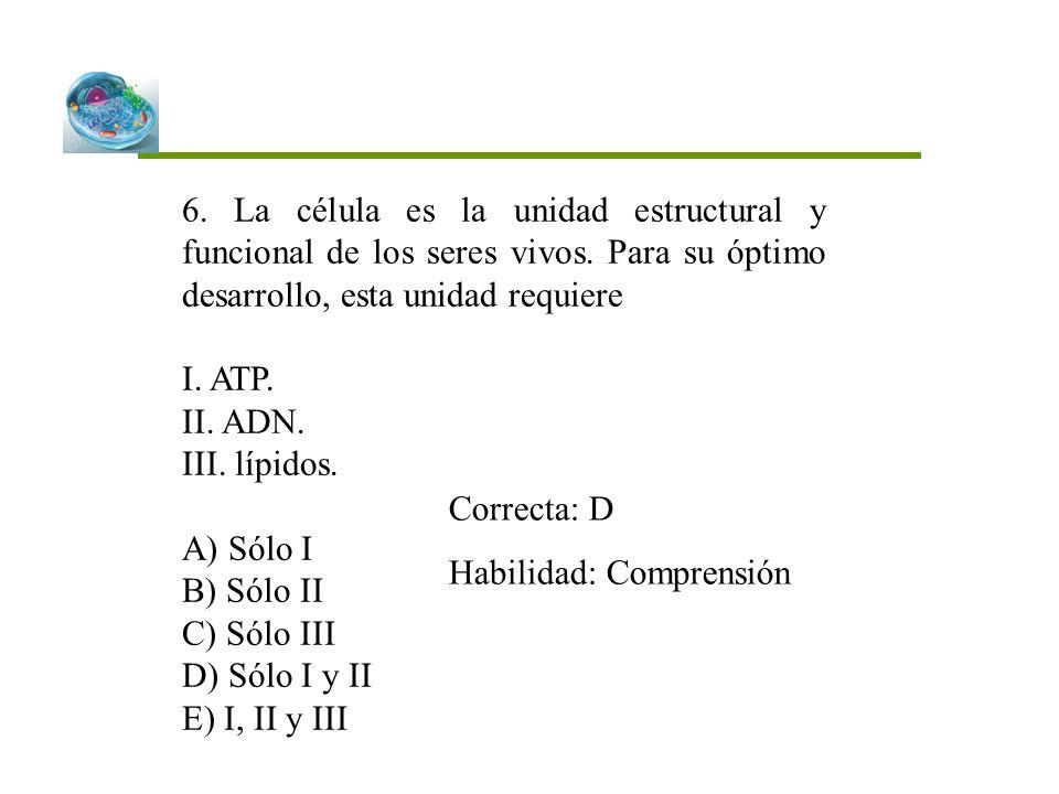 6. La célula es la unidad estructural y funcional de los seres vivos. Para su óptimo desarrollo, esta unidad requiere I. ATP. II. ADN. III. lípidos. A