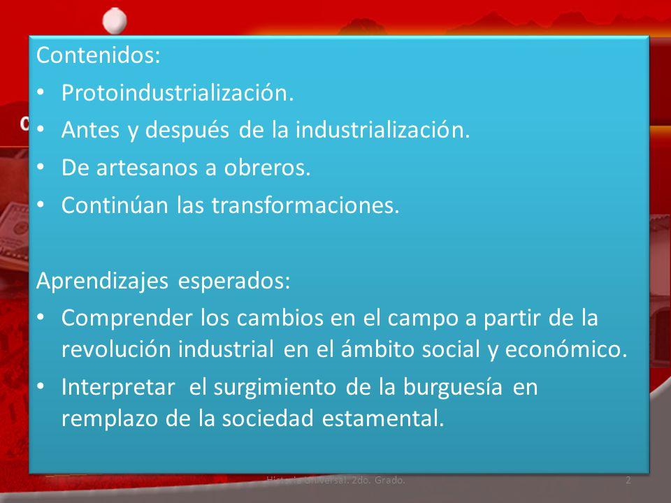Contenidos: Protoindustrialización.Antes y después de la industrialización.